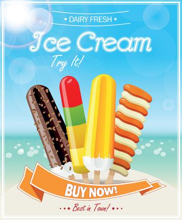 ice cream scoop: Ice Cream Poster. Vector Illustration.