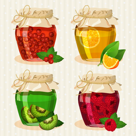 Set of jars with fruits. Kiwi, raspberries, strawberries, blueberries, oranges. Transparent cans.