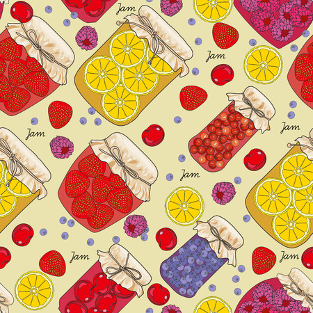 pantry: Seamless pattern jam with cherries, oranges, blueberries, mandarin oranges, fruit, berries in vintage style. Colorful vector illustration