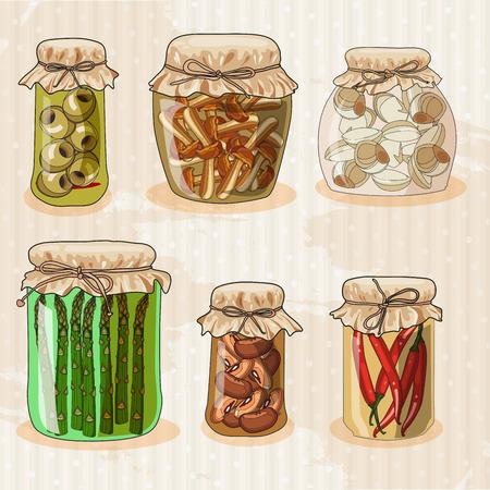pickles: Set of jars with vegetables. Mushrooms, peppers, beans, garlic, pickles, pickled asparagus, olives. Hand-drawing. Doodle design