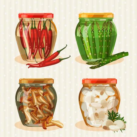 pickled: Set of jars with vegetables. Mushrooms, peppers, garlic, pickles, pickled asparagus.