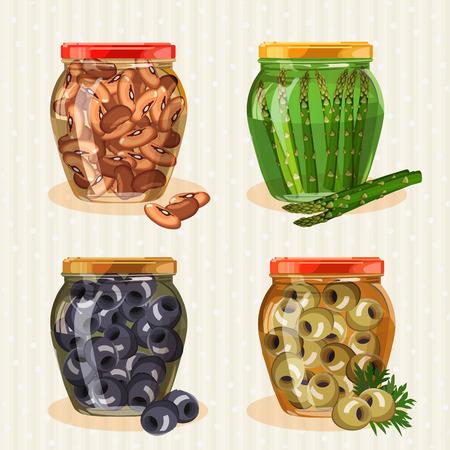 pickled: Set of jars with vegetables. Olives, pickles, pickled asparagus.