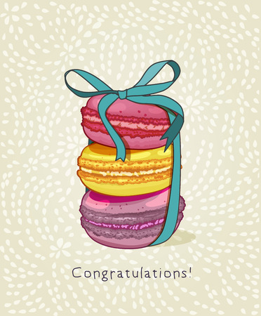 french cafe: Macaroons. Greeting card with macarons. French style. Menu for cafe.