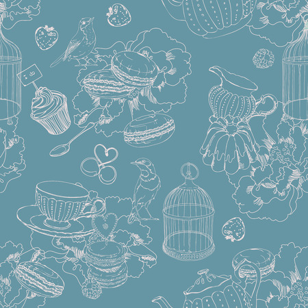 coffee berry: Seamless pattern with tea, cage, coffee pot, cup, jelly, cherry, berry, macaroon, strawberry, spoon, bird, flower, peony, raspberry in vintage style Illustration