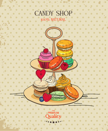Poster with traditional French macaroon cakes, cupcakes and berries in vintage style Vector