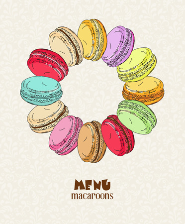 macaroon: Poster with traditional French macaroon cakes, cupcakes and berries in vintage style