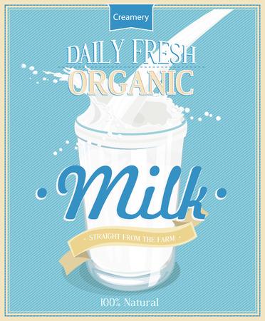 leche: cartel con el vidrio de leche