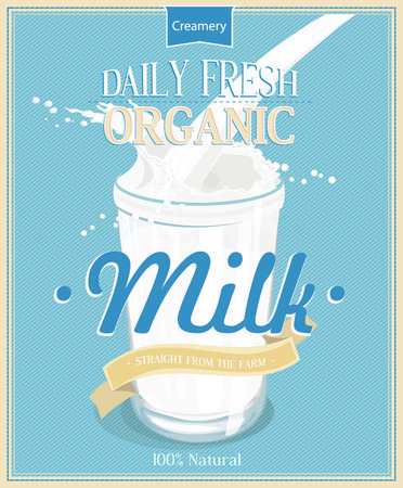 milk drop: poster with milk Glass