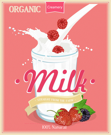 smoothie: Milk shake, Vintage Milk card Illustration