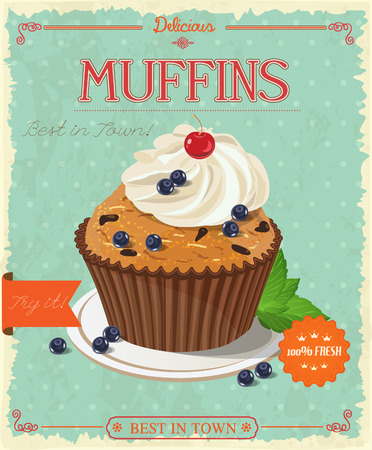 blueberry muffin: blueberry muffin. Poster in vintage style. Illustration