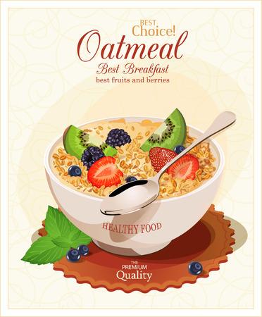 comiendo cereal: Muesli con frutas y bayas.