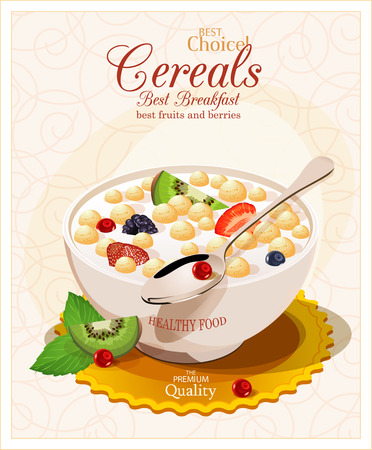 corn flakes: Muesli with fruit and berries. Illustration