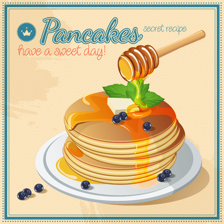 Pancakes with Maple Syrup and Butter Stock Illustratie