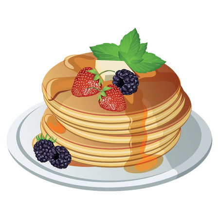 stack: Pancakes with Maple Syrup and Butter Illustration