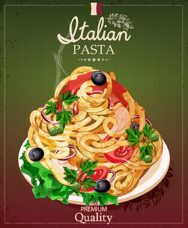 spaghetti bolognese: Italian pasta Spaghetti with sauce. Restaurant menu. Poster in vintage style. Illustration
