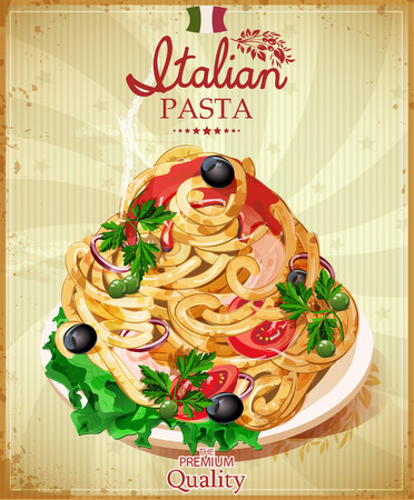 bolognese: Italian pasta Spaghetti with sauce. Restaurant menu. Poster in vintage style. Illustration