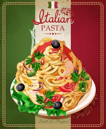 comida italiana: Espaguetis de pasta italiana con salsa. Men� del restaurante. Cartel en estilo vintage.