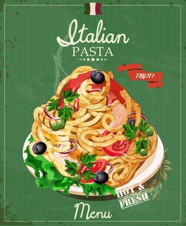 italian pasta: Espaguetis de pasta italiana con salsa. Men� del restaurante. Cartel en estilo vintage.