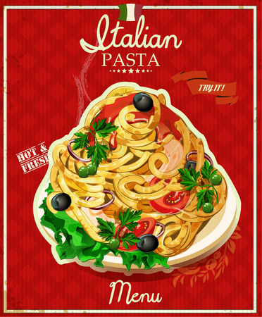 gourmet illustration: Italian pasta. Spaghetti with sauce. Restaurant menu. Poster in vintage style.