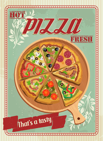 Vector poster with pizza and a slice of pizza. Italian food. Vintage style. Banco de Imagens - 34990401