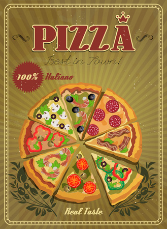 pizzeria label: Vector poster with pizza and a slice of pizza. Italian food. Vintage style.