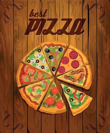 pizzeria label: Cartel del vector con la pizza y una rebanada de pizza. Comida italiana. Estilo vintage. Vectores