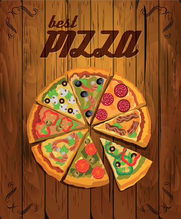 Vector poster with pizza and a slice of pizza. Italian food. Vintage style.