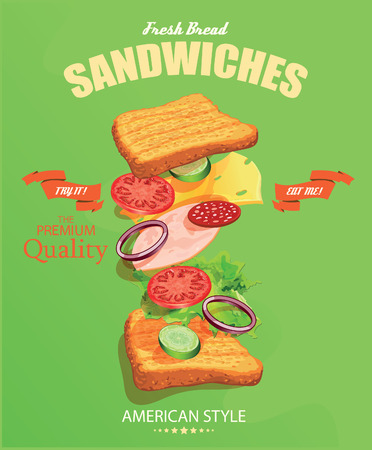 Sandwiches. Vector illustratie. Amerikaanse stijl. Vintage. Ingrediënten label.