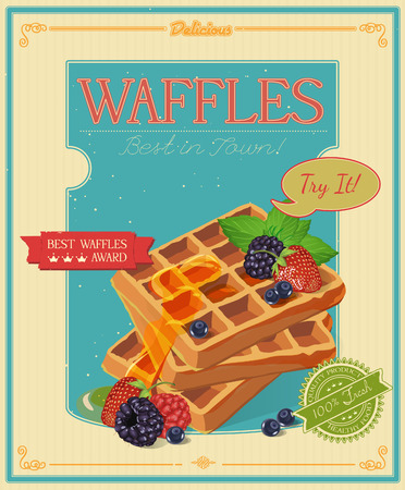 wafer: Vector waffles with syrup and strawberries. Poster in vintage style. Illustration
