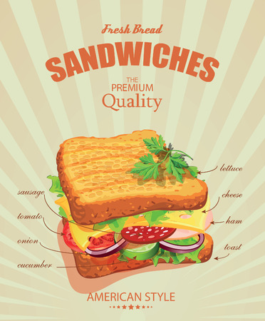 deli sandwich: Sandwiches. Vector illustration. American style. Vintage. Ingredients label.