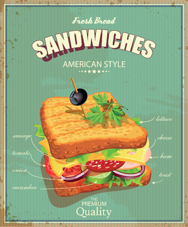 poster designs: Sandwiches. Vector illustration. American style. Vintage. Ingredients label.