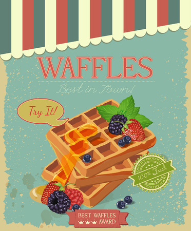 Vector waffles with syrup and strawberries. Poster in vintage style. 向量圖像