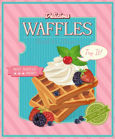 Vector waffles with syrup and strawberries. Poster in vintage style. Vectores