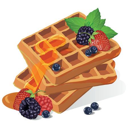 jarabe: Gofres del vector con el jarabe y las fresas. Cartel en estilo vintage. Vectores
