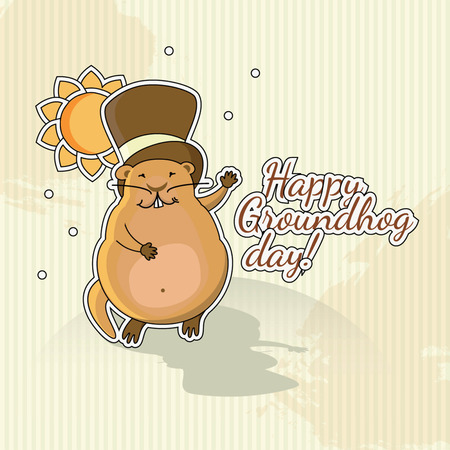Postcard to Groundhog Day  Congratulations to the end of winter and beginning of spring Illustration