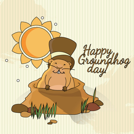 burrow: Postcard to Groundhog Day  Congratulations to the end of winter and beginning of spring Illustration