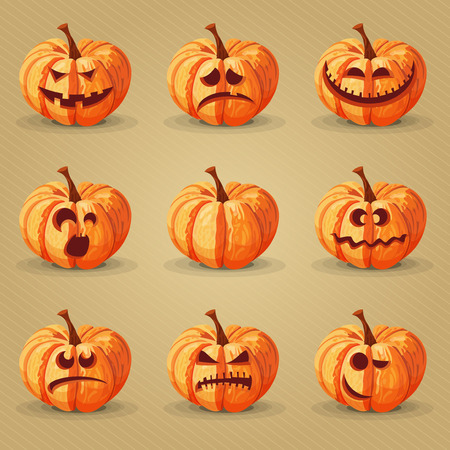 Halloween set. Pumpkins, facial expressions, emotions. Illustration
