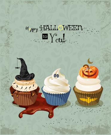 spider webs: Halloween poster with cupcakes, pumpkin, ghost, witch hat, spiders, spider webs.