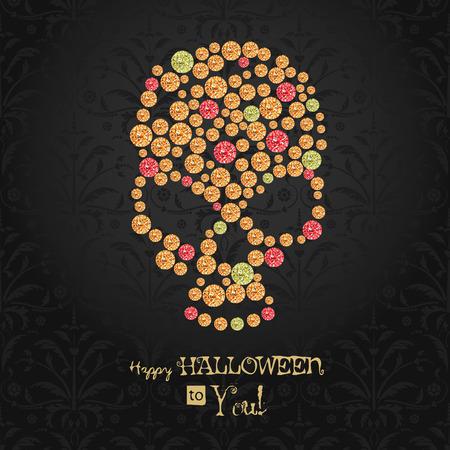 all saint day: Halloween poster. Dia de los muertos. All saint day. Sugar gemstone skull.