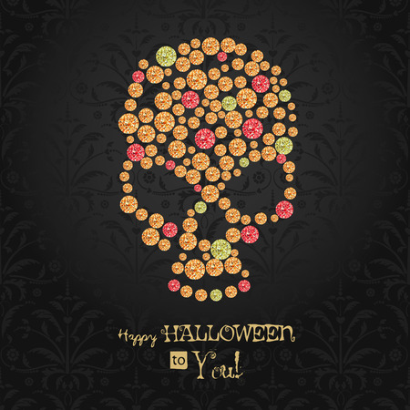 Halloween poster. Dia de los muertos. All saint day. Sugar gemstone skull.