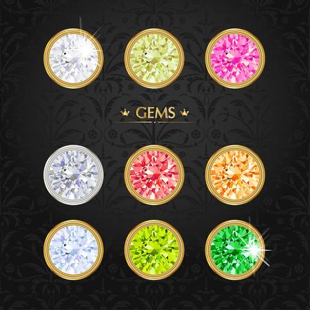 Set of colored gems. Jewel set Vector