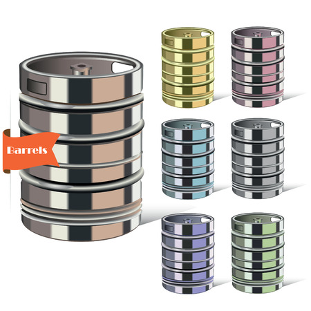 Steel barrel. Set of tanks. Vector illustration. Vector