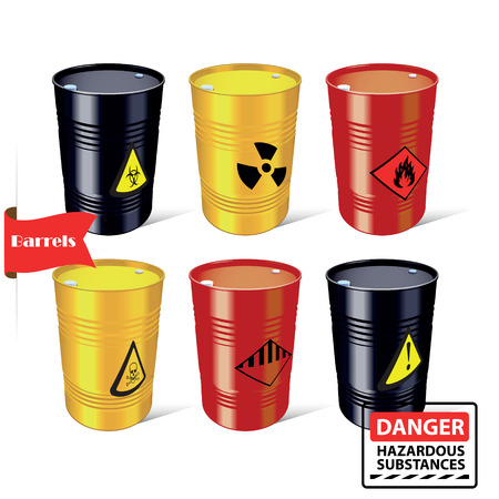 radioactive tank and warning sign: Signs of hazardous substances. Danger. Steel barrels. Vector illustration.