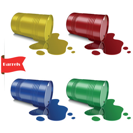 Spilled liquid. Metal multicolored barrels. Steel cans. Vector illustration. Vector