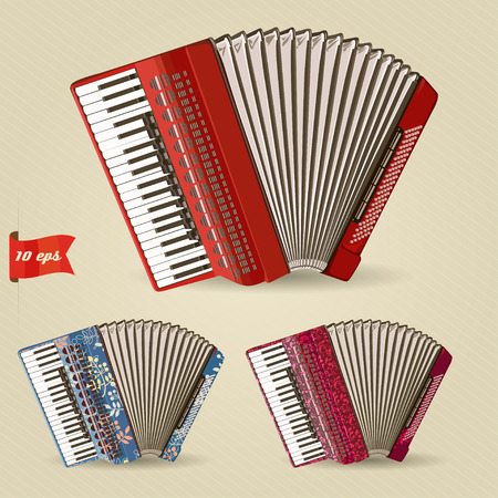 concertina: Accordion. Set of musical instruments. Vector illustration. Illustration