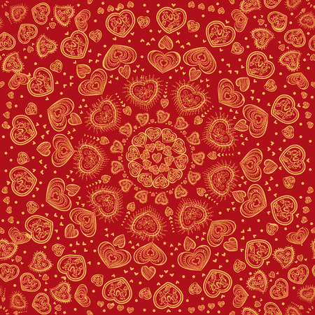 red indian: Ethnic seamless pattern in vintage style. Indian ornament, kaleidoscopic heart pattern, mandala. range, circle, round, disk. African abstract seamless pattern