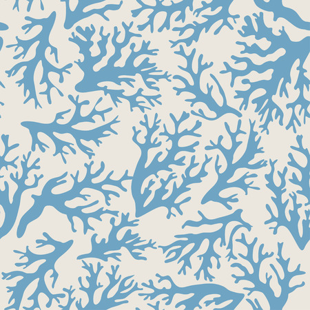 Coral, seashells seamless pattern in vintage style. Vector illustration Stok Fotoğraf - 34991407