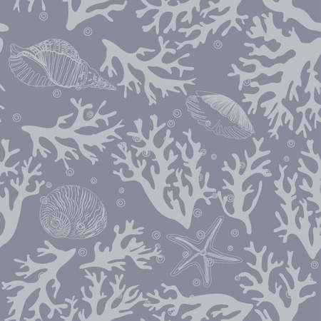 Coral, seashells seamless pattern in vintage style. Vector illustration