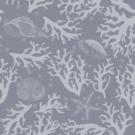 seashell: Coral, seashells seamless pattern in vintage style. Vector illustration