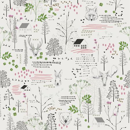 Nahtlose Muster mit Bäumen, Sträuchern, Laub, Hirsche, Elche, Füchse, Bären, Kaninchen, Kaninchen, Tiere auf hellem Hintergrund im Vintage-Stil. Hintergrund für Gewebe, das Scrapbooking in Hippie-Stil. Handzeichnung. Standard-Bild - 35030753